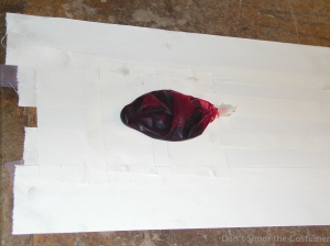 Blood bag is placed over exit opening