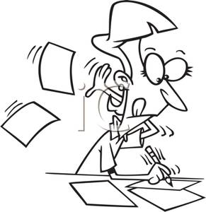 A_Secretary_Franically_Taking_Dictation_Royalty_Free_Clipart_Picture_110323-150987-951053